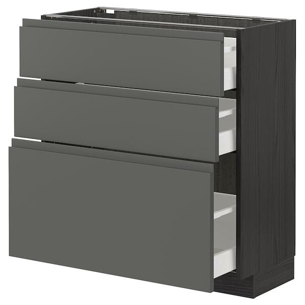 METOD / MAXIMERA وحدة تخزين ارضية  مع 3 أدراج, أسود/Voxtorp رمادي غامق, 80x37 سم