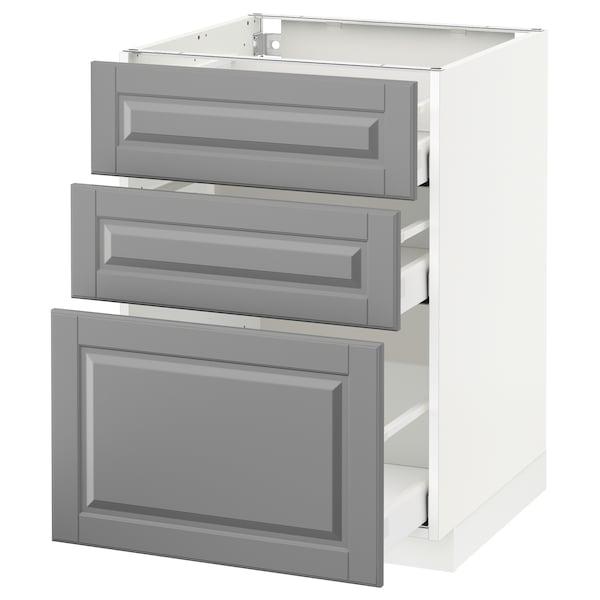 METOD / MAXIMERA وحدة تخزين ارضية  مع 3 أدراج, أبيض/Bodbyn رمادي, 60x60 سم