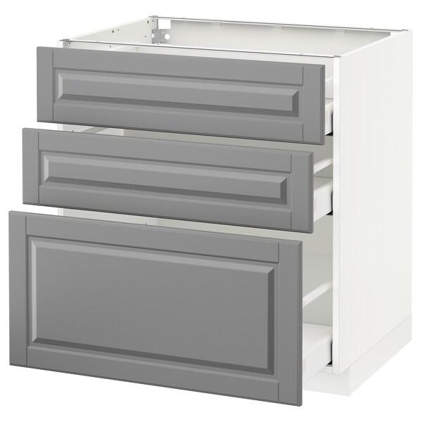 METOD / MAXIMERA وحدة تخزين ارضية  مع 3 أدراج, أبيض/Bodbyn رمادي, 80x60 سم