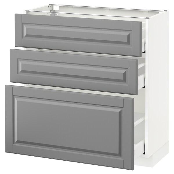 METOD / MAXIMERA وحدة تخزين ارضية  مع 3 أدراج, أبيض/Bodbyn رمادي, 80x37 سم