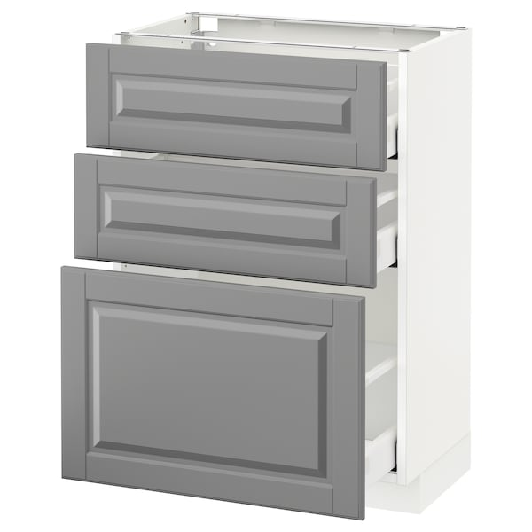 METOD / MAXIMERA وحدة تخزين ارضية  مع 3 أدراج, أبيض/Bodbyn رمادي, 60x37 سم