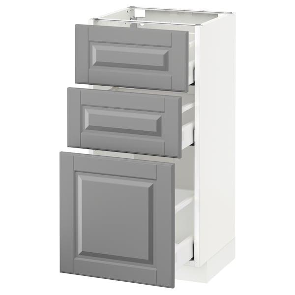 METOD / MAXIMERA وحدة تخزين ارضية  مع 3 أدراج, أبيض/Bodbyn رمادي, 40x37 سم