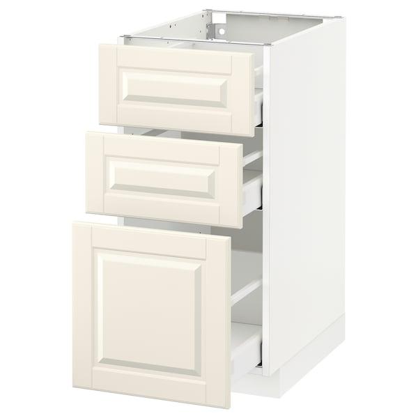 METOD / MAXIMERA وحدة تخزين ارضية  مع 3 أدراج, أبيض/Bodbyn أبيض-عاجي, 40x60 سم