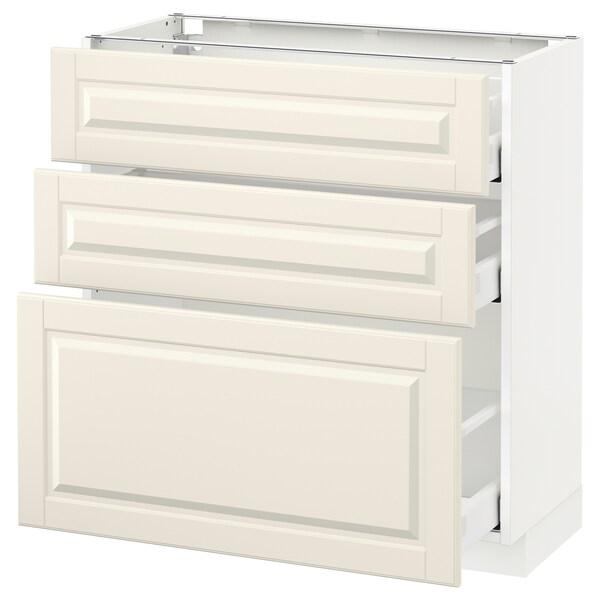 METOD / MAXIMERA وحدة تخزين ارضية  مع 3 أدراج, أبيض/Bodbyn أبيض-عاجي, 80x37 سم