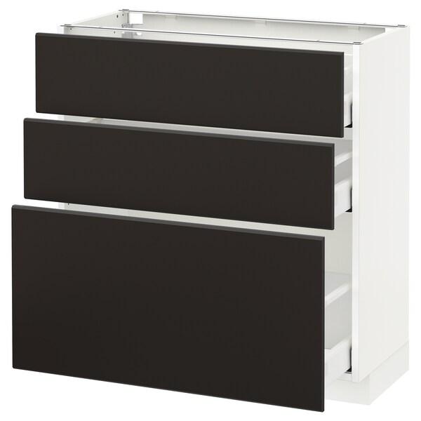 METOD / MAXIMERA وحدة تخزين ارضية  مع 3 أدراج, أبيض/Kungsbacka فحمي, 80x37 سم