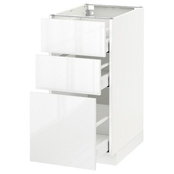 METOD / MAXIMERA وحدة تخزين ارضية  مع 3 أدراج, أبيض/Ringhult أبيض, 40x60 سم