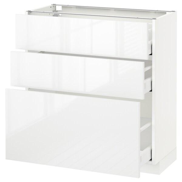 METOD / MAXIMERA وحدة تخزين ارضية  مع 3 أدراج, أبيض/Ringhult أبيض, 80x37 سم