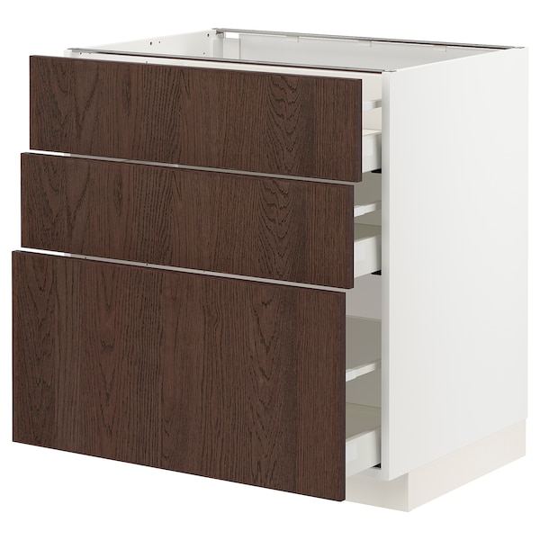 METOD / MAXIMERA خزانة قاعدة مع 3 أدراج, أبيض/Sinarp بني, 80x60 سم