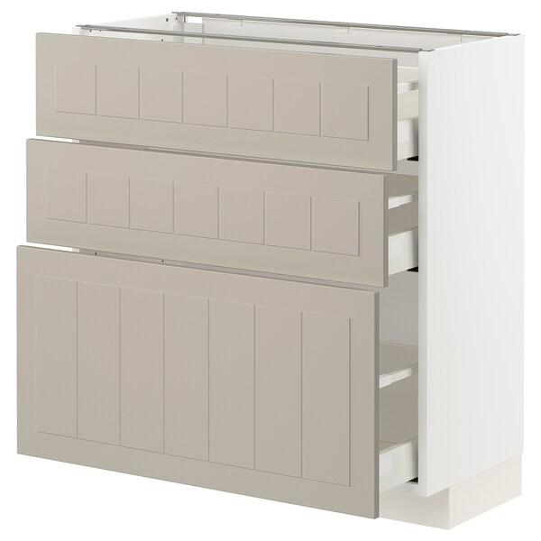 METOD / MAXIMERA خزانة قاعدة مع 3 أدراج, أبيض/Stensund بيج, 80x37 سم