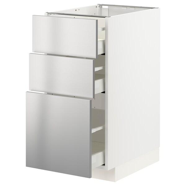 METOD / MAXIMERA وحدة تخزين ارضية  مع 3 أدراج, أبيض/Vårsta ستينلس ستيل, 40x60 سم