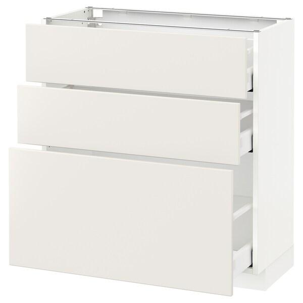 METOD / MAXIMERA وحدة تخزين ارضية  مع 3 أدراج, أبيض/Veddinge أبيض, 80x37 سم