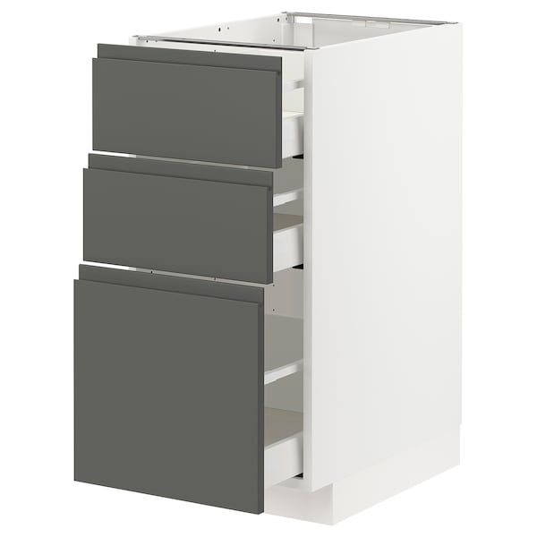 METOD / MAXIMERA وحدة تخزين ارضية  مع 3 أدراج, أبيض/Voxtorp رمادي غامق, 40x60 سم