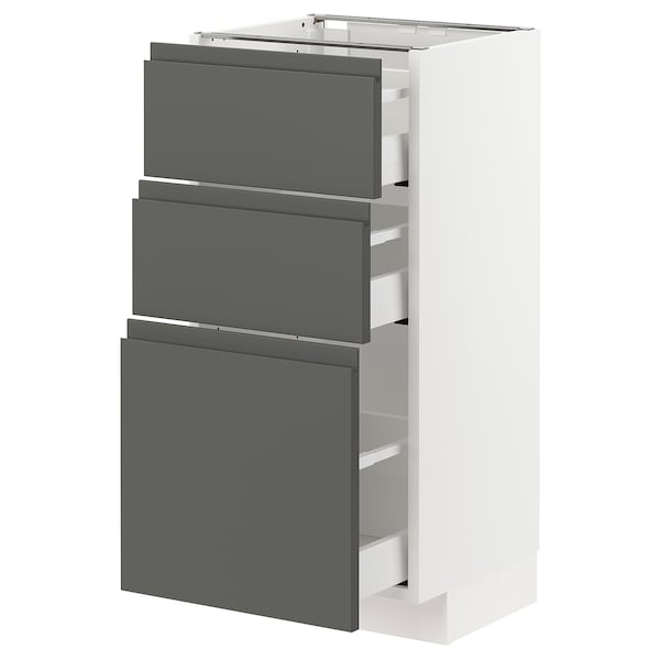 METOD / MAXIMERA وحدة تخزين ارضية  مع 3 أدراج, أبيض/Voxtorp رمادي غامق, 40x37 سم