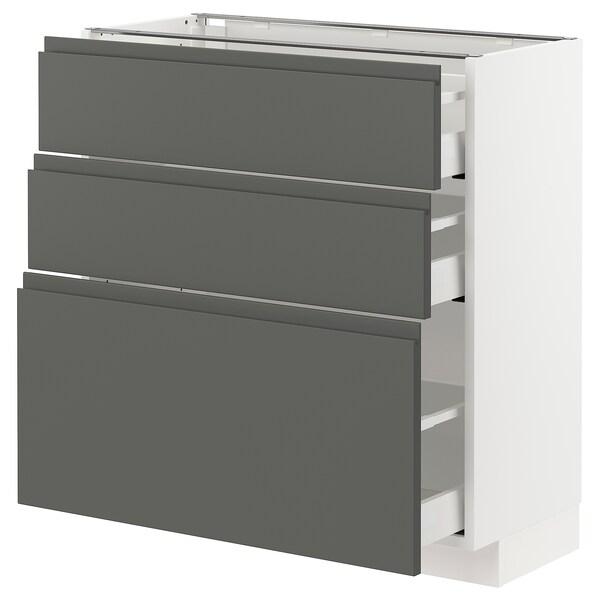 METOD / MAXIMERA وحدة تخزين ارضية  مع 3 أدراج, أبيض/Voxtorp رمادي غامق, 80x37 سم