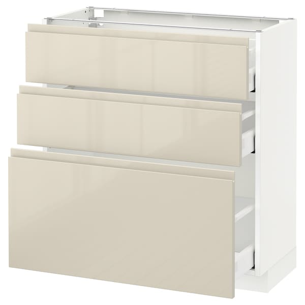 METOD / MAXIMERA وحدة تخزين ارضية  مع 3 أدراج, أبيض/Voxtorp بيج فاتح لامع, 80x37 سم