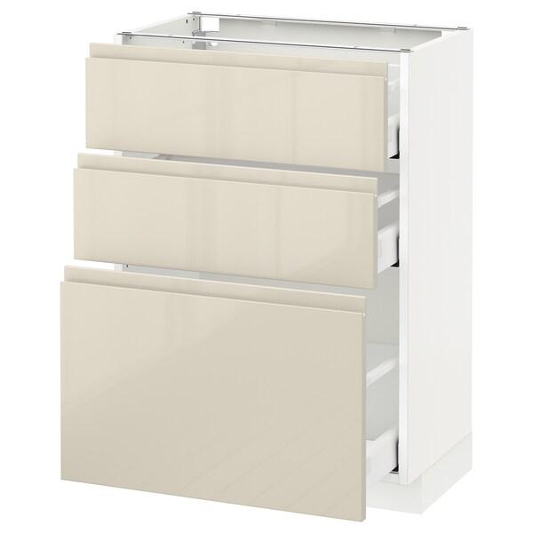 METOD / MAXIMERA وحدة تخزين ارضية  مع 3 أدراج, أبيض/Voxtorp بيج فاتح لامع, 60x37 سم