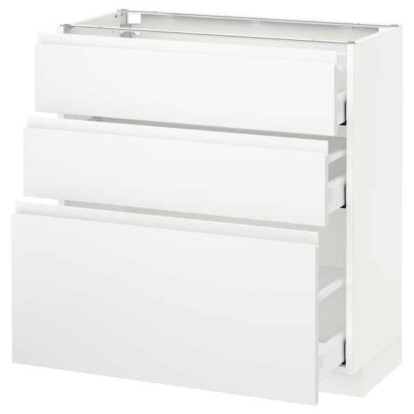 METOD / MAXIMERA وحدة تخزين ارضية  مع 3 أدراج, أبيض/Voxtorp أبيض مطفي, 80x37 سم