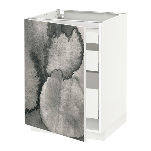 Metod Base Cabinet For Sink Black Järsta Orange 60x60 Cm: METOD / MAXIMERA Base Cabinet With 1 Door/3 Drawers