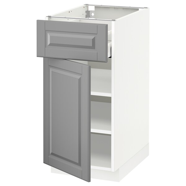 METOD / MAXIMERA Base cabinet with drawer/door, white/Bodbyn grey, 40x60 cm