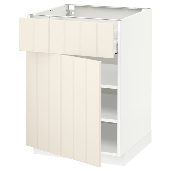 METOD / MAXIMERA Base cabinet with drawer/door, white/Hittarp off-white, 60x60 cm