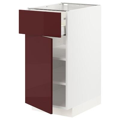 METOD / MAXIMERA Base cabinet with drawer/door, white Kallarp/high-gloss dark red-brown, 40x60 cm