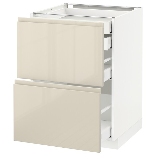 METOD / MAXIMERA Base cb 2 frnts/2 low/1 md/1 hi drw, white/Voxtorp high-gloss light beige, 60x60 cm
