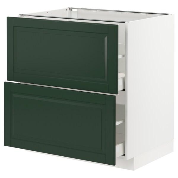 METOD / MAXIMERA خ. قاعدة 2 واجهة/2 أدراج علوية, أبيض/Bodbyn أخضر غامق, 80x60 سم