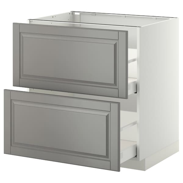 METOD / MAXIMERA خ. قاعدة 2 واجهة/2 أدراج علوية, أبيض/Bodbyn رمادي, 80x60 سم