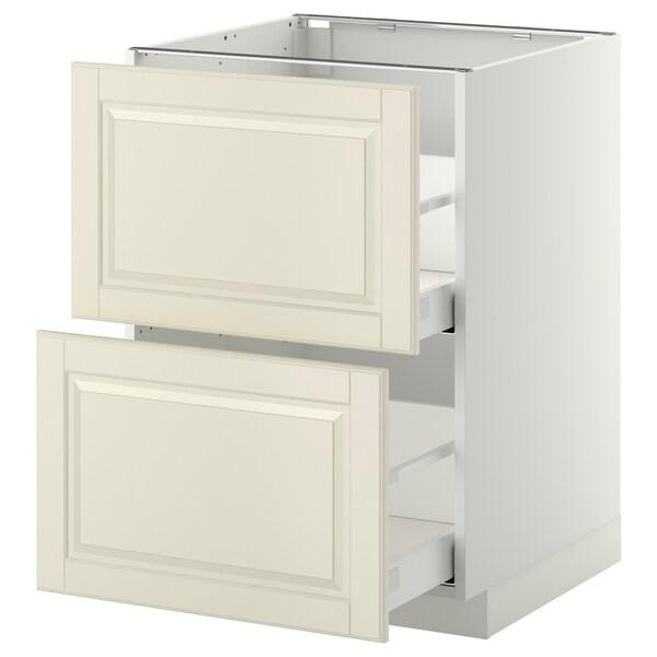 METOD / MAXIMERA خ. قاعدة 2 واجهة/2 أدراج علوية, أبيض/Bodbyn أبيض-عاجي, 60x60 سم