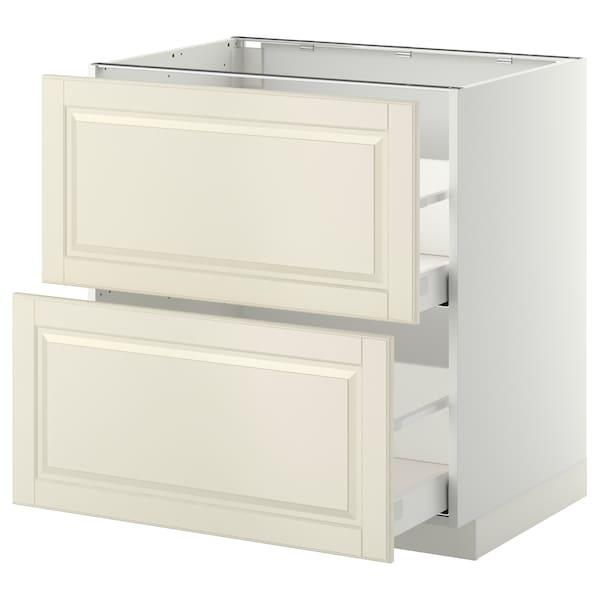 METOD / MAXIMERA خ. قاعدة 2 واجهة/2 أدراج علوية, أبيض/Bodbyn أبيض-عاجي, 80x60 سم