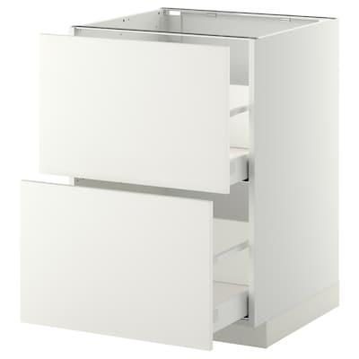 METOD / MAXIMERA خ. قاعدة 2 واجهة/2 أدراج علوية, أبيض/Haggeby أبيض, 60x60 سم