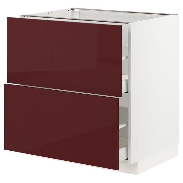METOD / MAXIMERA خ. قاعدة 2 واجهة/2 أدراج علوية, أبيض Kallarp/لامع أحمر-بني غامق, 80x60 سم