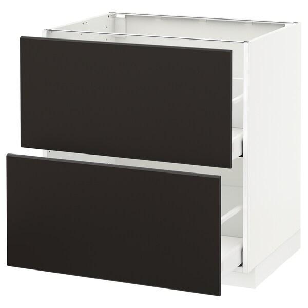 METOD / MAXIMERA خ. قاعدة 2 واجهة/2 أدراج علوية, أبيض/Kungsbacka فحمي, 80x60 سم