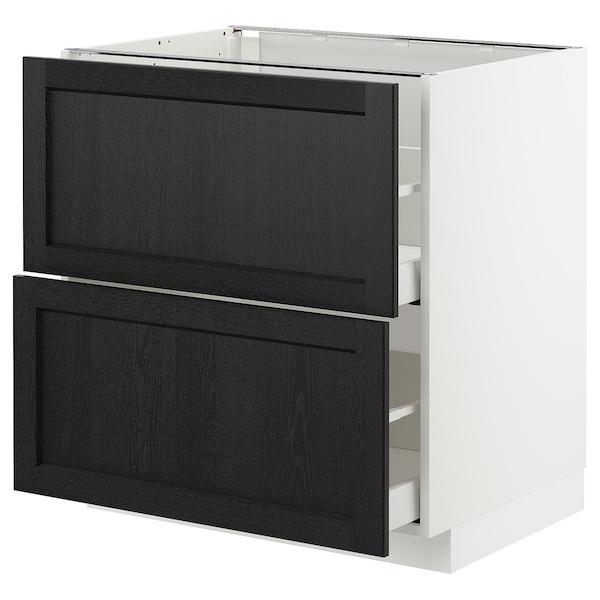 METOD / MAXIMERA خزانة قاعدة 2 واجهة/2 أدراج علوية, أبيض/Lerhyttan صباغ أسود, 80x60 سم