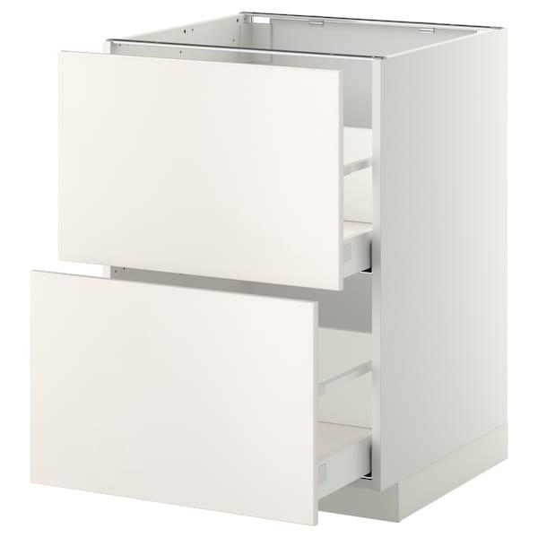 METOD / MAXIMERA خ. قاعدة 2 واجهة/2 أدراج علوية, أبيض/Veddinge أبيض, 60x60 سم