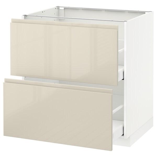 METOD / MAXIMERA خ. قاعدة 2 واجهة/2 أدراج علوية, أبيض/Voxtorp بيج فاتح لامع, 80x60 سم