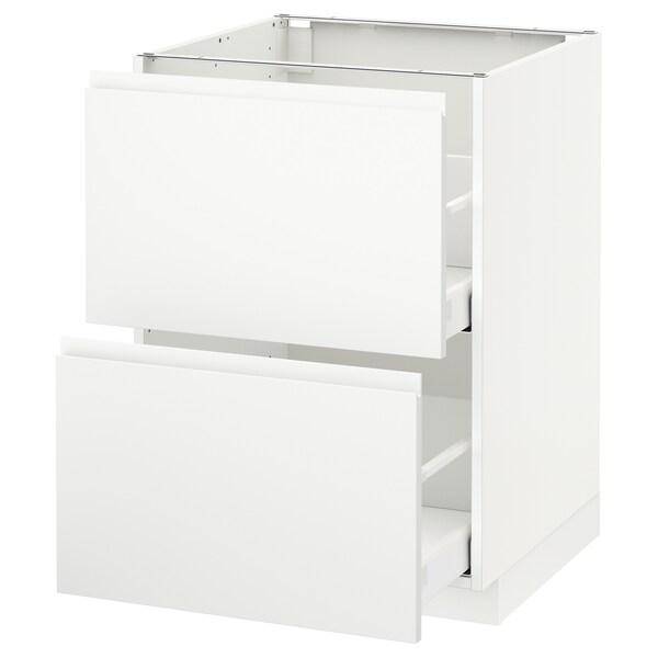 METOD / MAXIMERA خ. قاعدة 2 واجهة/2 أدراج علوية, أبيض/Voxtorp أبيض مطفي, 60x60 سم