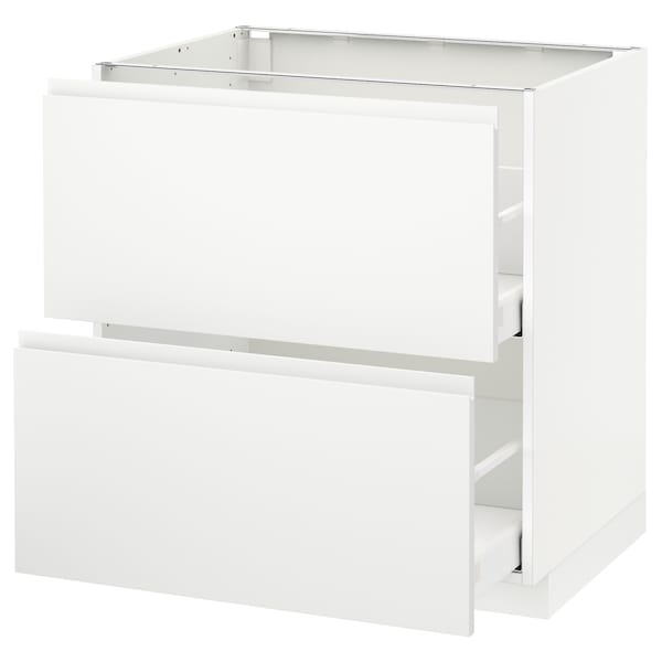 METOD / MAXIMERA خ. قاعدة 2 واجهة/2 أدراج علوية, أبيض/Voxtorp أبيض مطفي, 80x60 سم