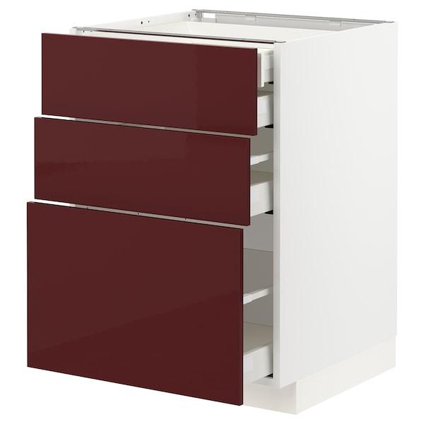 METOD / MAXIMERA Base cb 3 frnts/2 low/1 md/1 hi drw, white Kallarp/high-gloss dark red-brown, 60x60 cm