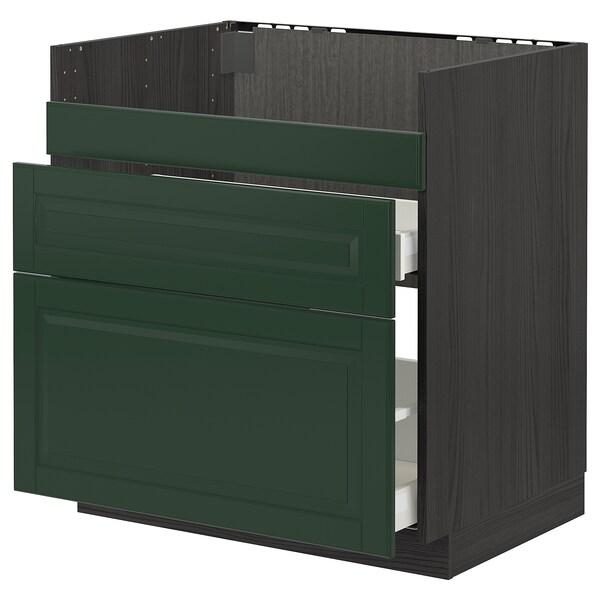 METOD / MAXIMERA قاعدة HAVSEN مع حوض/3 واجهات/درجين, أسود/Bodbyn أخضر غامق, 80x60 سم