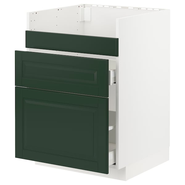 METOD / MAXIMERA قاعدة HAVSEN مع حوض/3 واجهات/درجين, أبيض/Bodbyn أخضر غامق, 60x60 سم