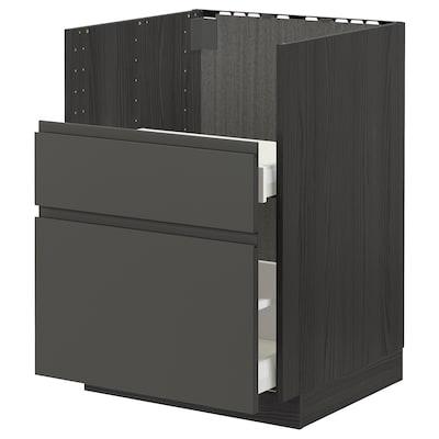 METOD / MAXIMERA Bc f BREDSJÖN sink/2 fronts/2 drws, black/Voxtorp dark grey, 60x60 cm