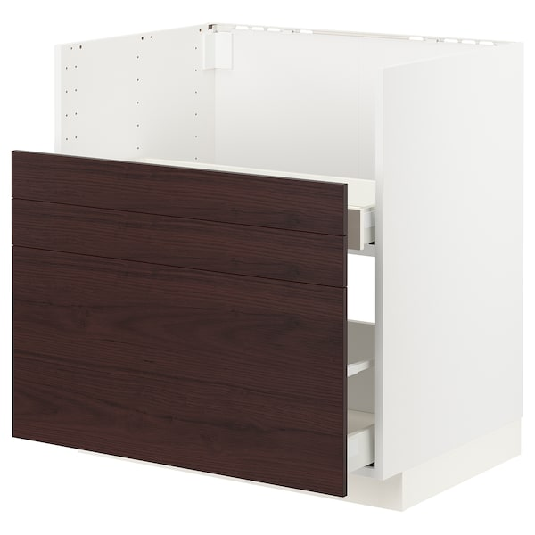 METOD / MAXIMERA Bc f BREDSJÖN sink/2 fronts/2 drws, white Askersund/dark brown ash effect, 80x60 cm