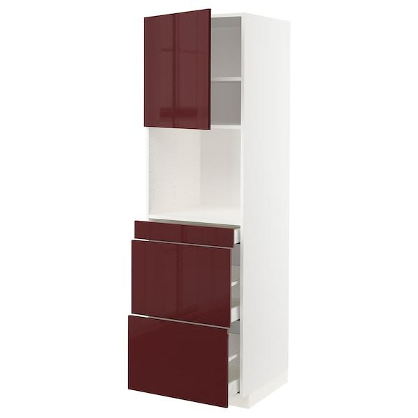METOD / MAXIMERA خزانة عالية لميكروويف وباب/3 أدرا, أبيض Kallarp/لامع أحمر-بني غامق, 60x60x200 سم