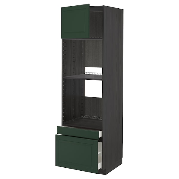 METOD / MAXIMERA Hi cab f ov/combi ov w dr/2 drwrs, black/Bodbyn dark green, 60x60x200 cm