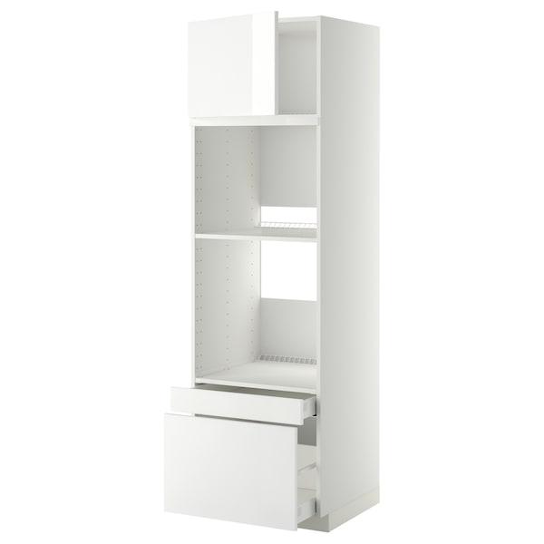 METOD / MAXIMERA Hi cab f ov/combi ov w dr/2 drwrs, white/Ringhult white, 60x60x200 cm