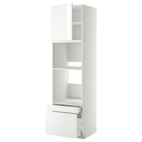 METOD / MAXIMERA Hi cab f ov/combi ov w dr/2 drwrs, white/Ringhult white, 60x60x220 cm