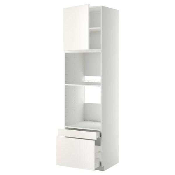 METOD / MAXIMERA Hi cab f ov/combi ov w dr/2 drwrs, white/Veddinge white, 60x60x220 cm