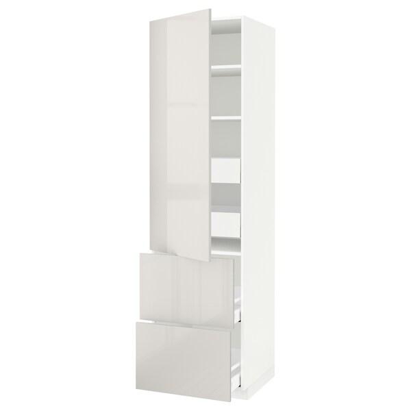 METOD / MAXIMERA Hi cab w shlvs/4 drawers/dr/2 frnts, white/Ringhult light grey, 60x60x220 cm