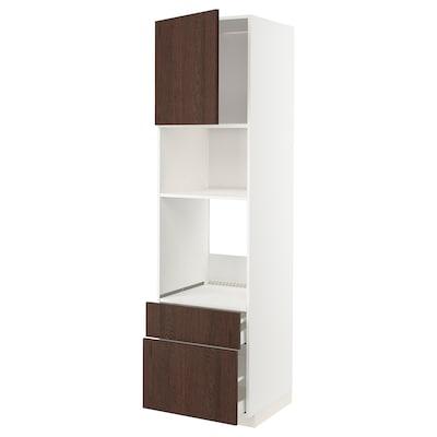 METOD / MAXIMERA خزانة عالية لفرن/م. مع باب/2 أدراج, أبيض/Sinarp بني, 60x60x220 سم